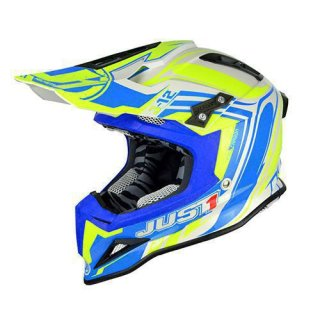 JUST1 Helm J12 Flame Yellow-Blue