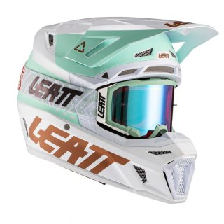 Leatt Helm inkl. Brille 8.5 V21.1 weiss-grün-gold