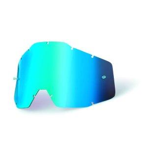 100% Ersatzglas Racecraft & Mx Brille Accuri Verspiegelt Blau